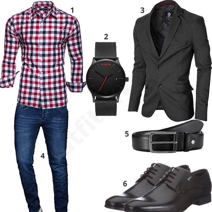 Elegant men's outfit with black jacket (m0371)