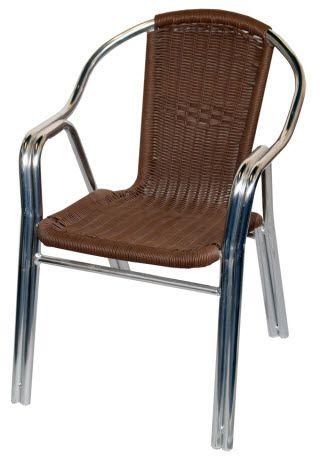 Double Tube Aluminum U0026 Rattan Patio Chair   Brown