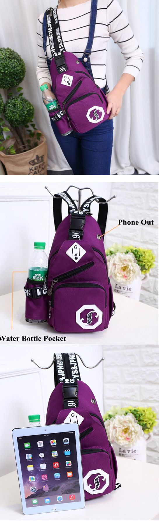 US$14.83 Women Nylon Casual Lightweight Chest Bag Shoulder Bags Backpack Outdoor Sports Bags