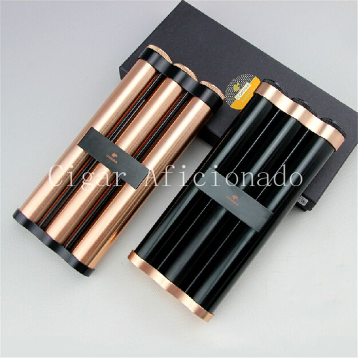 COHIBA Rose Golden&Black Travel Metal Cigar Tube Hydrating Case Portable Jar Holder 3 Fingers with Humidifier