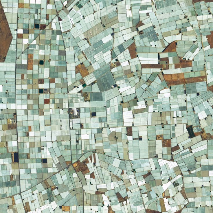 12/29/2015 Plasticulture Almeria, Spain 36.715441373°, -2.721484966°  Here's another favorite Overview from 2015. Greenhouses - also known as plasticulture - cover approximately 20,000 hectares of land (more than 75 square miles) in Almeria, Spain. The use of plastic covering is designed to increase produce yield, increase produce size, and shorten growth time. For a sense of scale, this Overview shows roughly eight square miles.