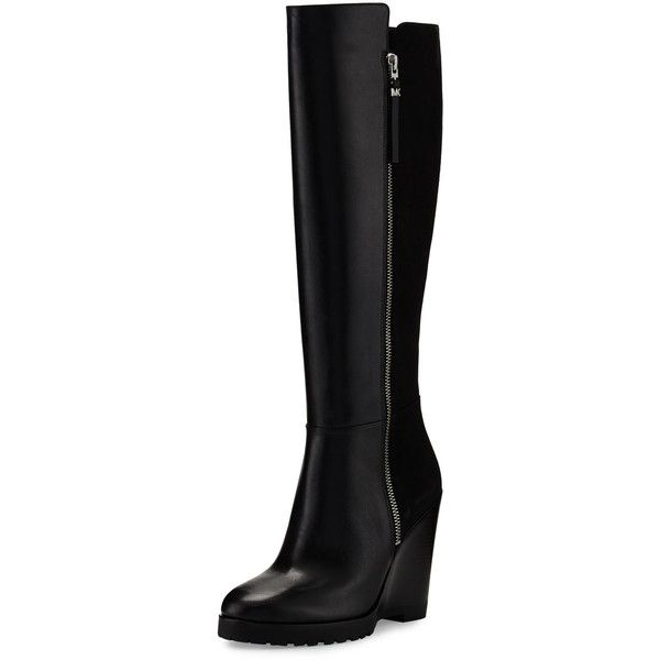 MICHAEL Michael Kors Clara Leather & Suede Wedge Boot ($315) ❤ liked on Polyvore featuring shoes, boots, black, knee-high boots, black boots, suede boots, wedge boots, suede knee high boots and black suede boots