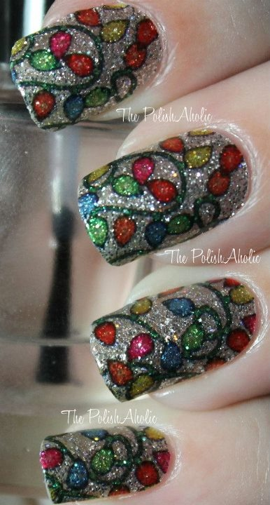 <3Polish Strips, Nails Art, Holiday Lights, Christmas Nails, Christmas Lights, Art Design, Glitter Nails, Nails Polish, Stained Glass