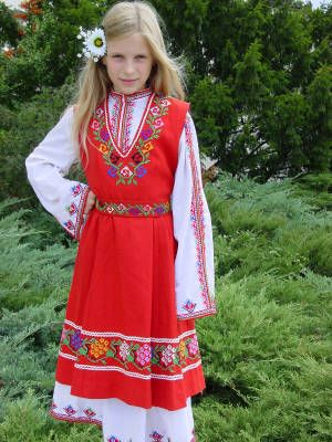 Bulgarian folk costumes consist of pants, shirts, and vests for men, and dresses and aprons for women. Find some stock photos @ kozzi.com or click the image to re-direct to the site.