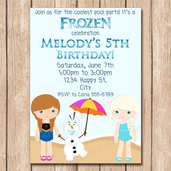 snow princess frozen pool party birthday invitation elsa anna olaf swim