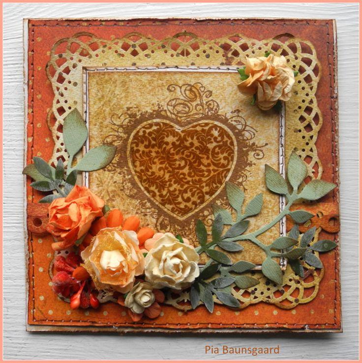 Stempelglede :: Design Team Blog. Handmade card using rubber stamps from the Grunge Flourish Hearts collection. 2014 © Pia Baunsgaard