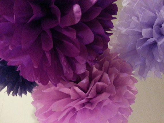 Tissue Paper Pom Poms Set of 8  Purple decor  by PomGarden on Etsy