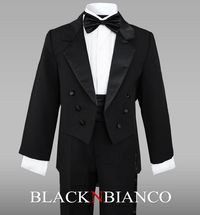 Boys Tuxedo with tail for ring bearers and weddings by Black n Bianco