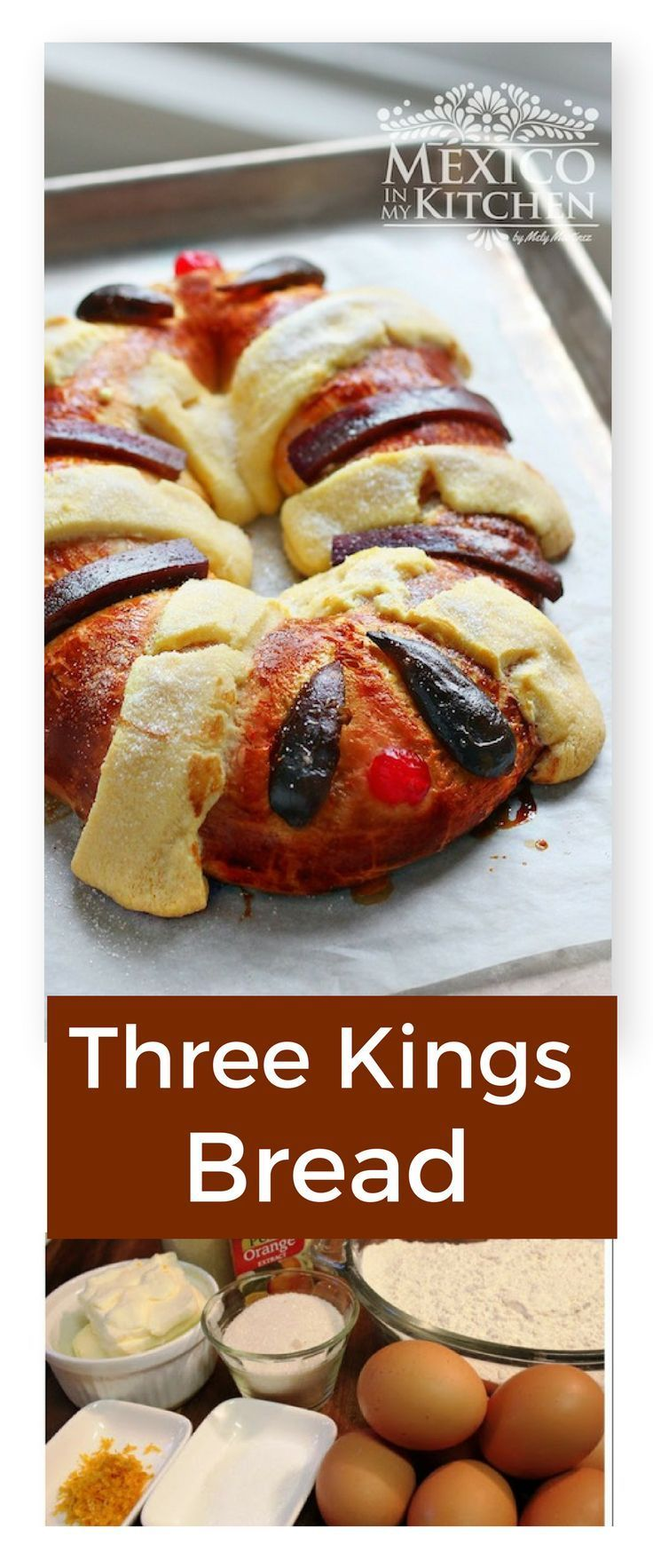 Three Kings Bread / Rosca de Reyes. This is another food that I started making at home some years ago because I couldn't find it here. Nowadays there is a bakery that sells it but the flavors and aromas you get by baking it at home cannot be compared. #recipe #MexicanFood
