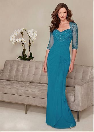 Chic Chiffon Queen Anne Neckline Floor-length Mother of the Bride Dresses with Beadings