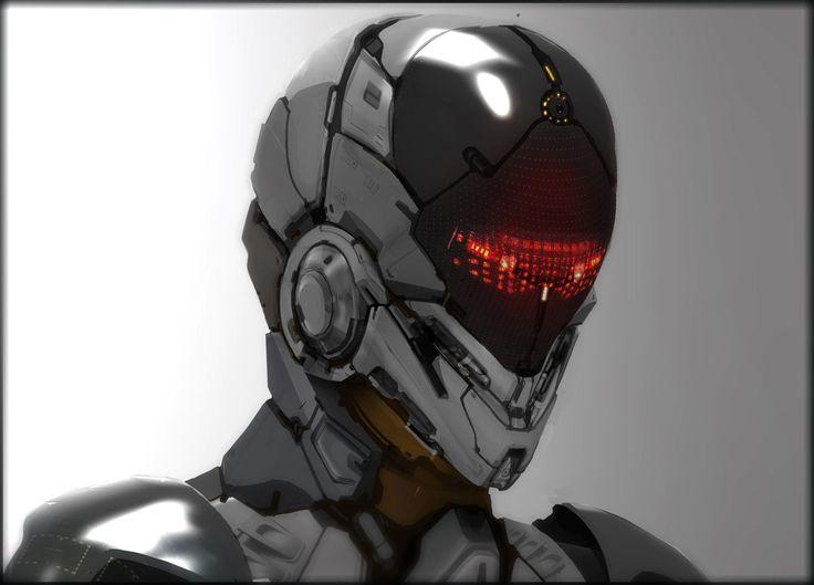 robotic head concept sketch, Aaron Deleon on ArtStation at https://www.artstation.com/artwork/BVq44