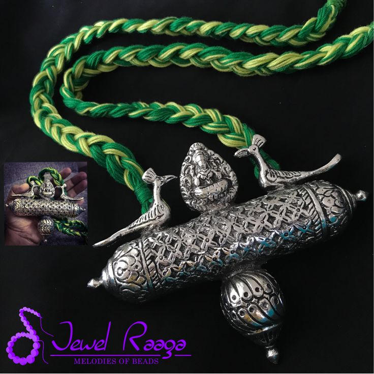 Dhukdhuki German silver pendant with braided thread cord #threaddorinecklace #Germansilver #jumbopendant #Handmadejewellery #Necklace #Jewelraaga