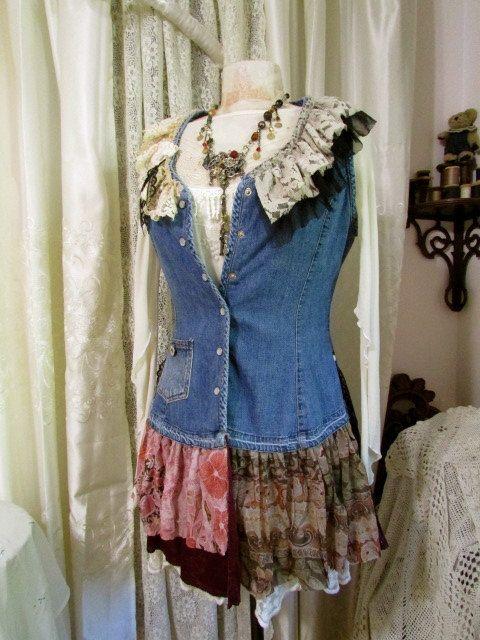 Womens Denim Vest fabric ruffles and lace ruffles by GrandmaDede