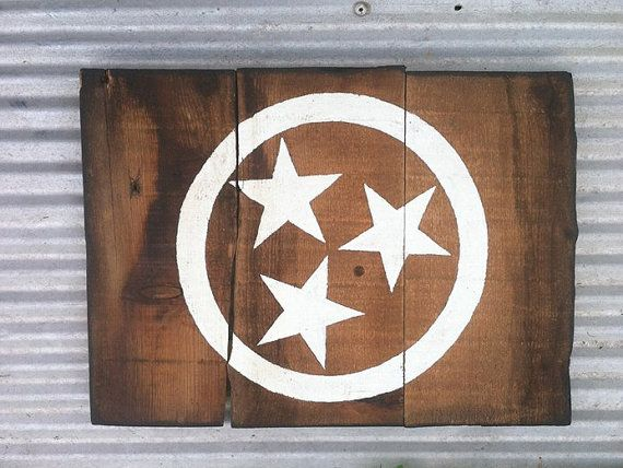 SOLD!!! Tennessee Native Flag Painted Sign on Natural Rustic by SignNiche, $60.00