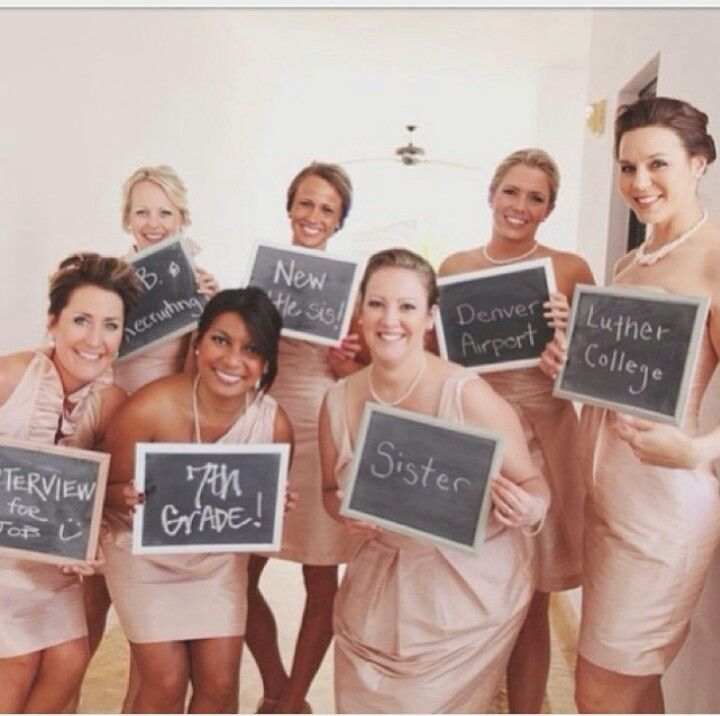 Great touch for the wedding of a teacher! Bridesmaids telling where/how they first met the bride.
