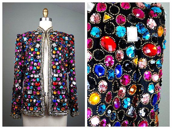 PESANTE gioiello perline paillettes Trofeo giacca / / Crystal impreziosito giacca da sera da Victoria Royal Ltd taglia 10