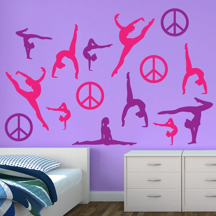 our restickable pink purple gymnastics silhouette wall graphics are great to add to any room our room decor decals can stick 100 plus times