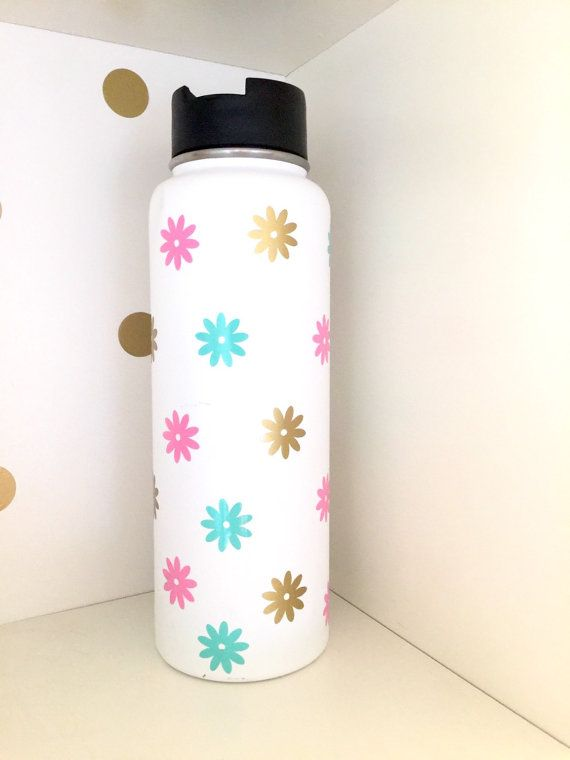 Vinyl flower decal set for hydro flask water by happytuesdaysigns
