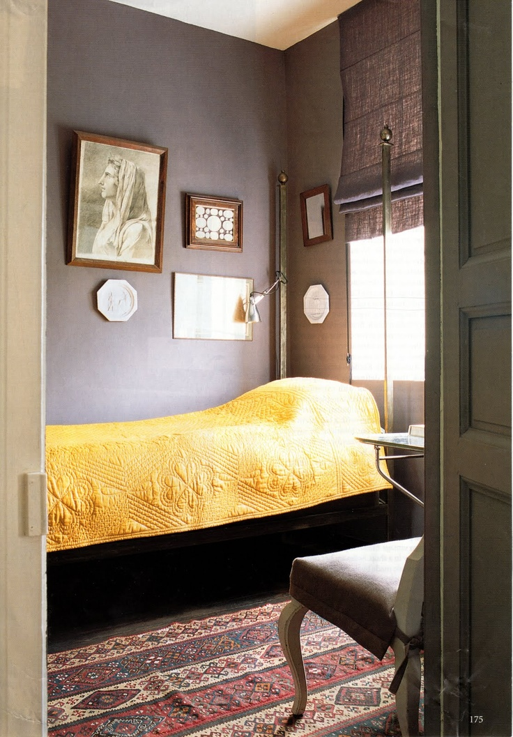 Color scheme for guest room.  Dominique Kieffer's Normandy home from The World of Interiors, April 2003.