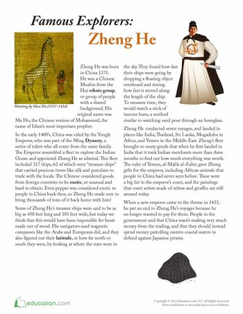 hist106 zheng he essay Accompanied by 27,000 men on 62 large and 255 small ships, the chinese eunuch zheng he, led 7 naval expeditions to southeast asia, middle east and east coast of africa in the span of 28 years during the ming dynasty the scale of zheng he's fleet was unprecedented in world history the large.
