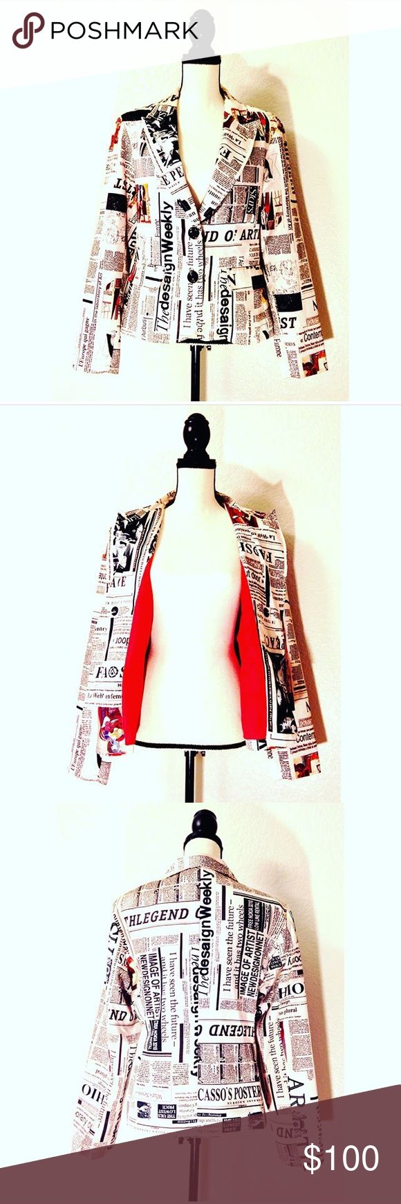 """New York Newspaper Jacket This New York Jacket is one of a kind! It's fabric is embroidered with newspaper print and different """"hot off the press"""" stories! The inside lining is bright red, making wearing the jacket open just as fashionable. In wonderful shape as it was found just for you in a designer store in NewYork City near Chealsea's Market! Make an offer ; ) Jackets & Coats"""