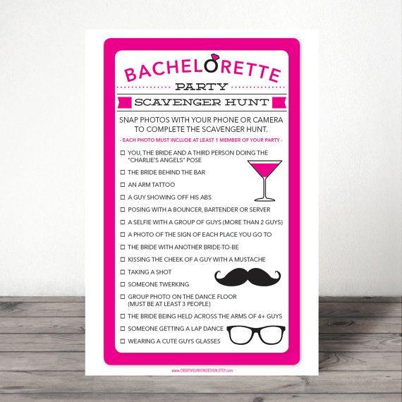 Bachelorette Scavenger Hunt - Bachelorette Party Game - Bachelorette Party Activity - DIY - Hen Party - Girls Night Out - Instant Download