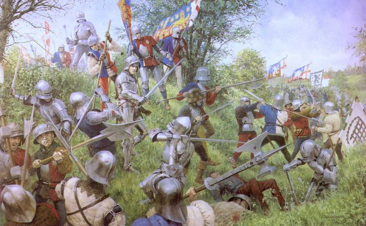 Tewkesbury Battlefield Society.  Painting of the Battle of Tewkesbury by Graham Turner.