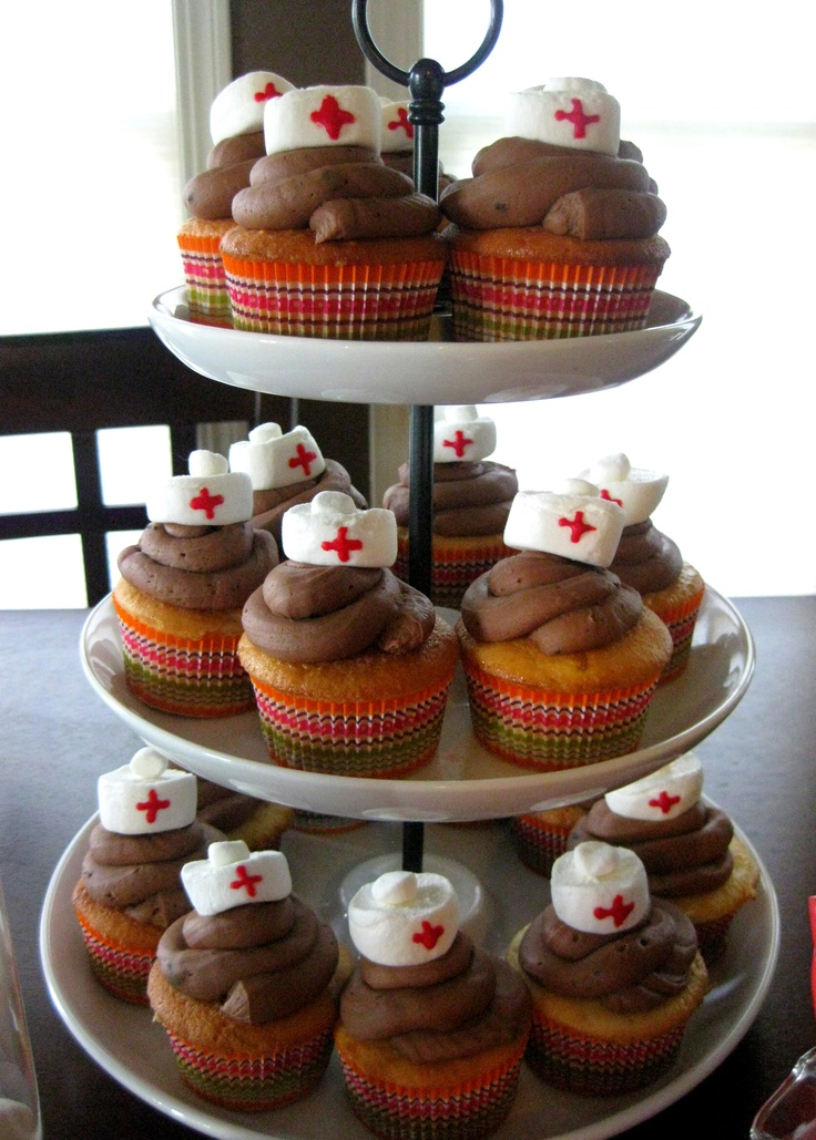 nurse hat cupcakes from my nursing school graduation party