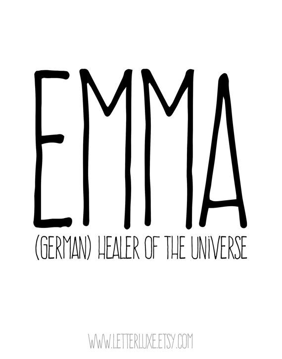 Emma - (German) healer of the universe ::::::::::::::::::::::::::::::::::::::::::::::::::::::::::::::::::::::::::::::::::::::::::::::::::::::::: This listing is for an INSTANT DOWNLOAD. You will receive a JPG file that you can print. If you also want a PDF, let me know. You chose the perfect name for your baby. Now you can display it in your nursery! I designed this print using the definitions from my book Baby Names Made Easy (Simon & Schuster, 2009). My LetterLuxe Printable Nursery Déc...