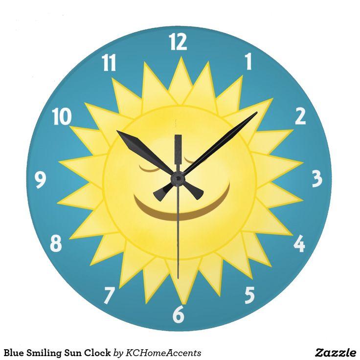 Blue Smiling Sun Clock