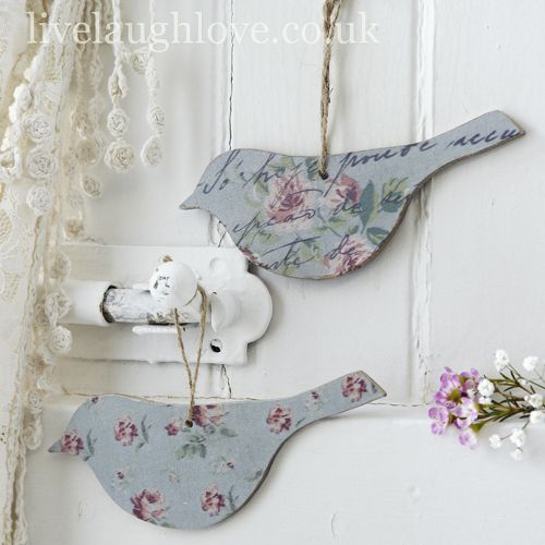 Script & Rosebud Hanging Birds-Pair
