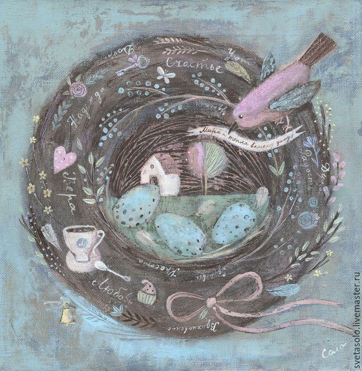 Купить Гнездо - голубой, гнездо, гнездышко, птица, домик, яйца, бантик, сердечко, чашка
