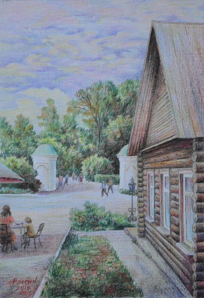 Василий Россин (Vasily Rossin), У входа в Ясную полянуAt the entrance to Yasnaya Polyana2015 г.Бумага, карандашPencil, paper22 х 32