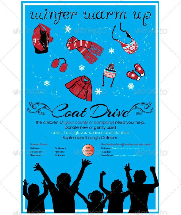 Kid Poster #GraphicRiver Poster for Children's Coat Drive or any children's winter event.