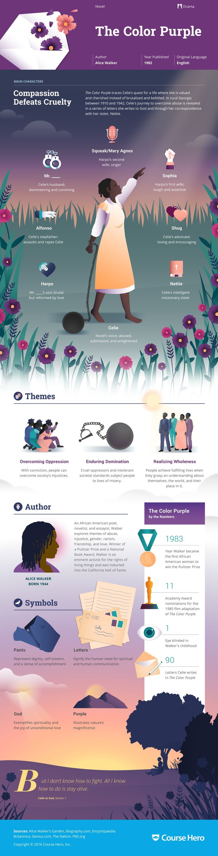17 best images about alice walker feminist quotes alice walker s the color purple infographic to help you understand everything about the book visually learn all about the characters themes