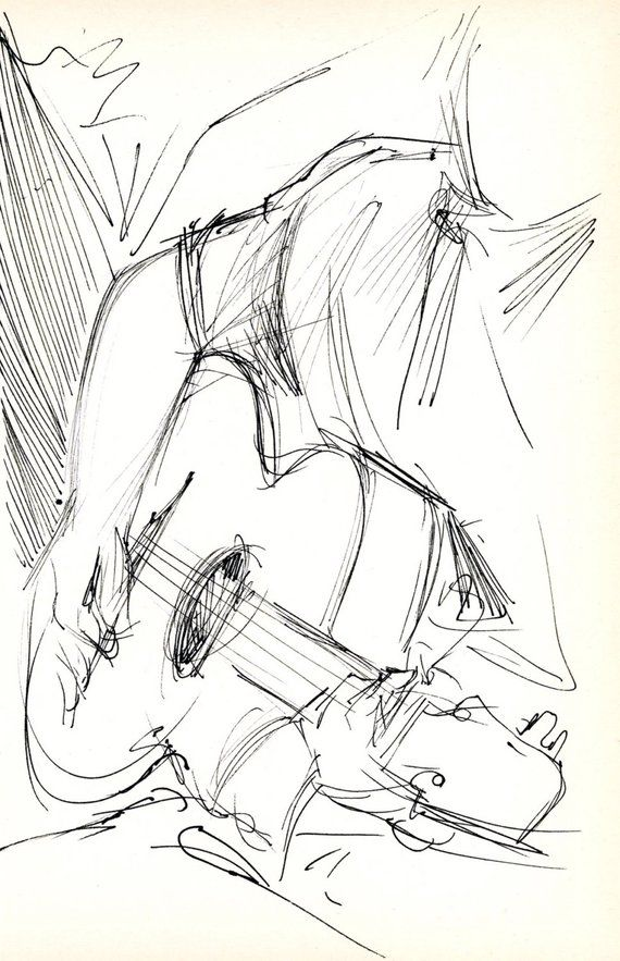 Guitarist – Unique Pen & Ink Sketch – Archivally Matted and Mounted for Commonplace 8×10″ Body