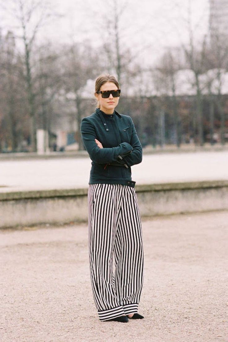 28 Ways to Dress Up with Vertical Striped Wide Leg Pants #Style http://seasonoutfit.com/2018/01/14/28-ways-to-dress-up-with-vertical-striped-wide-leg-pants/