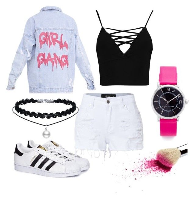 """#denim #blackwhitepink"" by sanikova on Polyvore featuring LE3NO, Boohoo, adidas and Marc Jacobs"