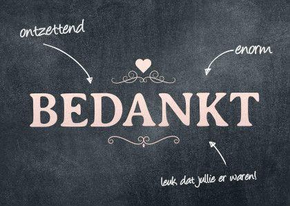 Modern bedankkaart met tekst en ornamenten op chalkboard, verkrijgbaar bij #kaartje2go voor € 1,89