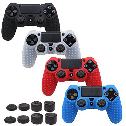 Pandaren STUDDED Antislip Silicone Cover Skin Set for PlaySation 4 controllercontroller skin x 4  FPS PRO Thumb Grips x 8BlackWhiteRedBlue ** See this great product.Note:It is affiliate link to Amazon.
