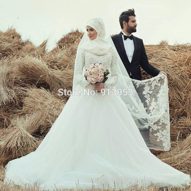 AnnBridal Latest Design YWD138 High Neck Long Sleeve Turkey/Arabic/Muslim Hijab Wedding Dress 2016 - http://www.onestopweddingstore.com/products/annbridal-latest-design-ywd138-high-neck-long-sleeve-turkeyarabicmuslim-hijab-wedding-dress-2016/