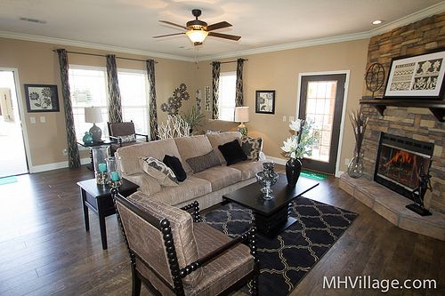 I saw this new manufactured home at the Tunica Manufactured Housing show. The living room with the fireplace was gorgeous! (There are a ton more photos of this home on the flickr set.)