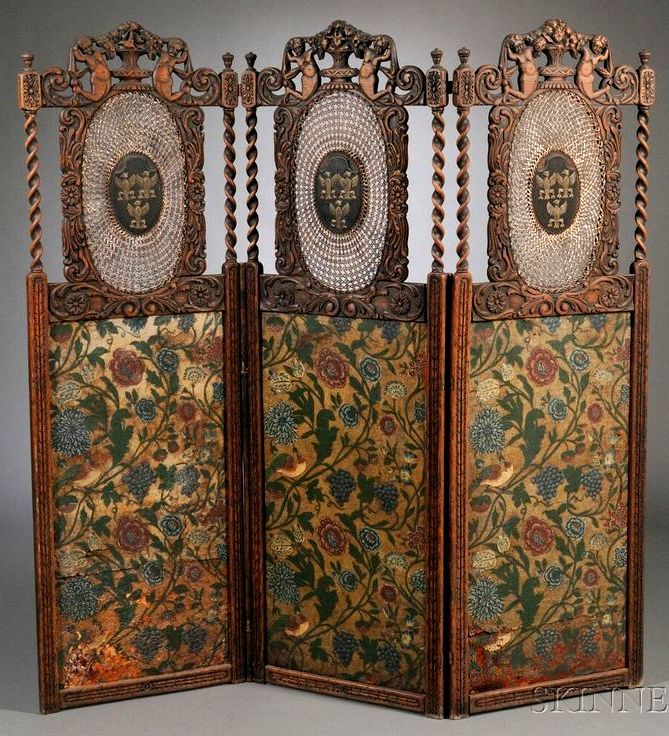 Marvelous Continental Jacobethan Style Three Panel Carved Oak, Caned, And Painted  Leather Floor Screen