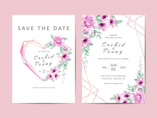Modelo De Convite De Casamento Criativo Conjunto De Aquarela Floral Wedding Invitation Templates Wedding Invitation Card Template Floral Wedding Invitations