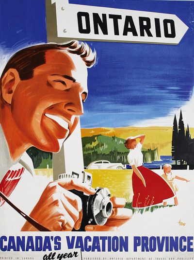 Travel poster for Ontario, Canada, 1950s