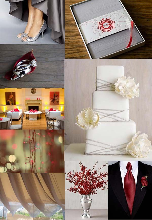 Best Images About Wedding Red Gray Silver On Grey Weddings And Cakes