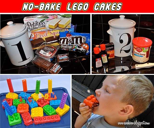 No Bake Lego Cake (using Little Debbie cakes-smart). Great idea! My son may want these for his bday party.