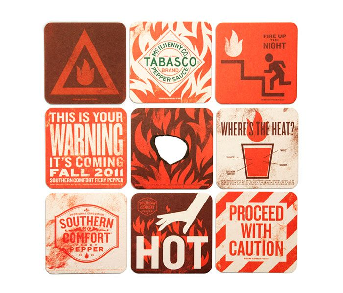 """To announce the arrival of Fiery Pepper, we created a launch kit to promote the product to the industry trade. The box contains branded coasters and a siren to deliver a disruptive, high-energy teaser.""""  Designed by cue"""