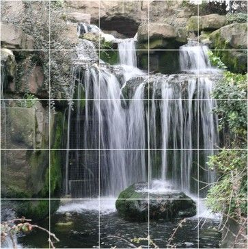 Waterfall Photo Bathroom Shower Tile Mural 30 X 30   Traditional   Tile    Picture