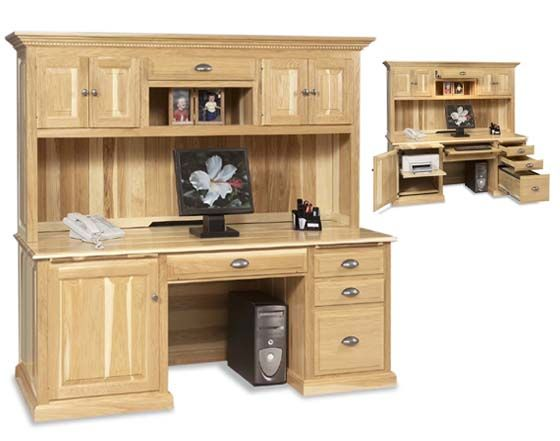 our amish handcrafted traditional computer desk with hutch top blends traditional style with expert